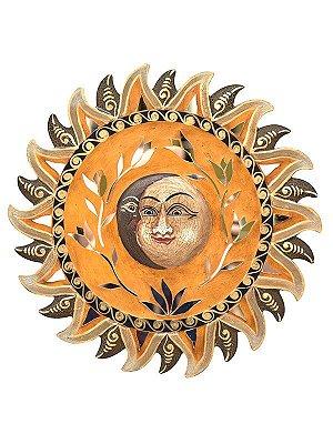 Sol e Lua em Madeira 40cm p/ Decorar Paredes - Arte Bali