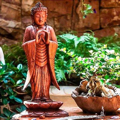 Escultura Buda Zen Entalhado 60cm