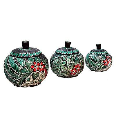 Trio De Potes Batik Floral - Bali