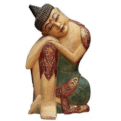 Buda Relax em Madeira Antik 50cm