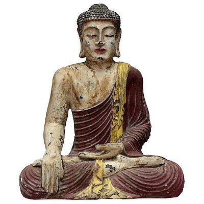 Estátua Buda Rústico Pátina 40cm