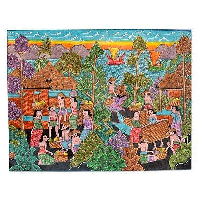 """Tela """"Cotidiano De Bali"""" 60x80cm"""