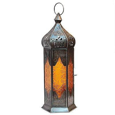 Lanterna Indiana Rústica - Amarela 40cm
