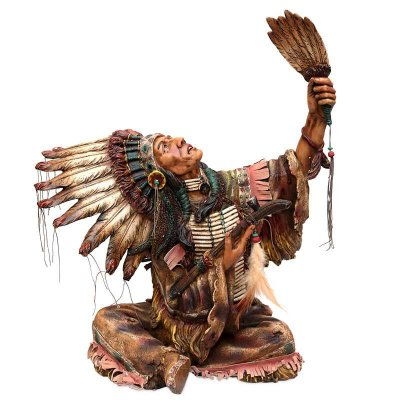 Estátua Índio Sioux em Ritual 33cm