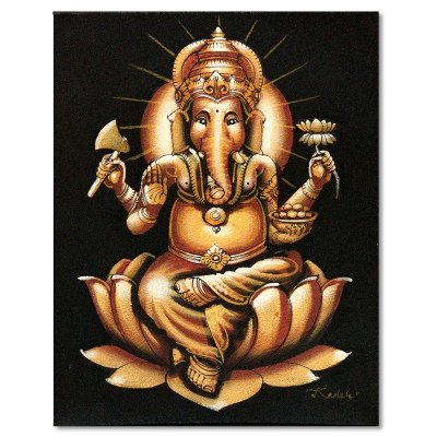 Pintura em Tela Ganesha Gold 25x20cm