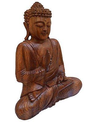 Escultura de Buda em Madeira Suar 20cm