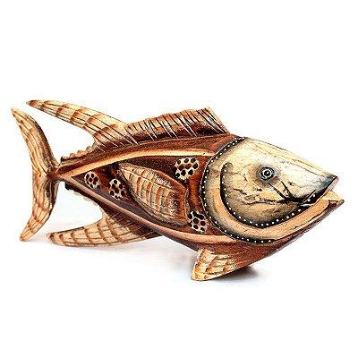 Peixe Bali em Madeira Entalhada 30cm