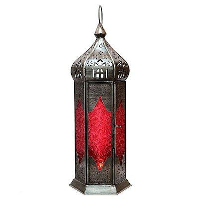 Lanterna Indiana Rústica Vermelha 40cm