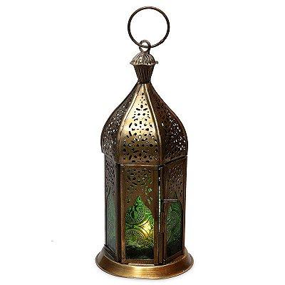 Lanterna Indiana Verde Gold 21cm