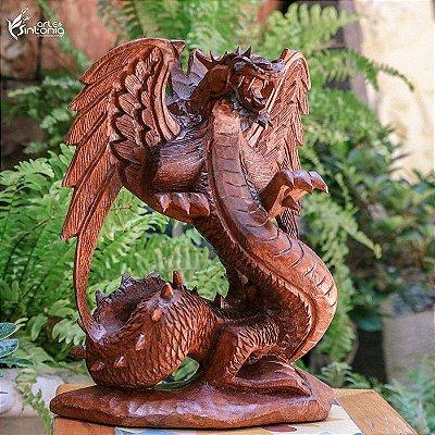 Escultura Dragão Asas 30cm - Bali