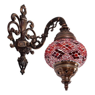 Arandela Turca Mosaico Vermelho 35cm