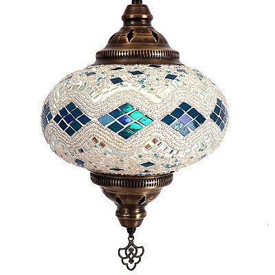 Pendente Turco Mosaico Blue / White