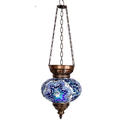 Luminária Turca Mandala Azul 28cm