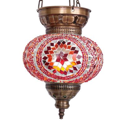 Luminária Turca Mandala Vermelha 28cm