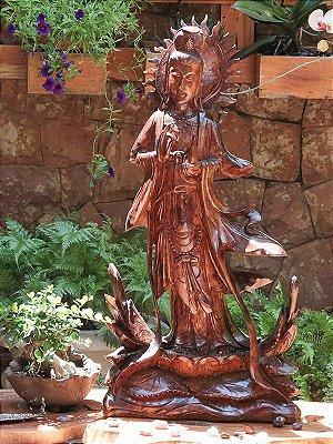Estátua Deusa Kuan - Yin Madeira 81cm - Bali