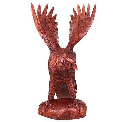 Escultura Coruja em Madeira Suar 42cm
