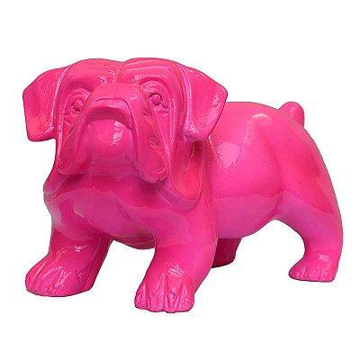 Cachorro Bulldog em Resina Rosa
