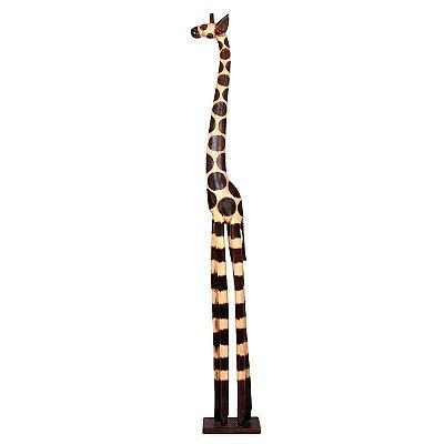Escultura de Girafa em Madeira 200cm