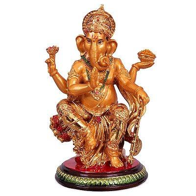 Escultura Ganesh em Resina Gold 25cm