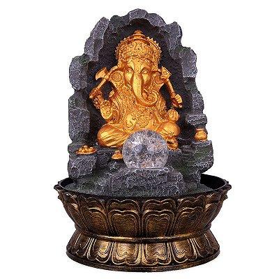 Fonte Ganesh Dourado com Bacia 32cm
