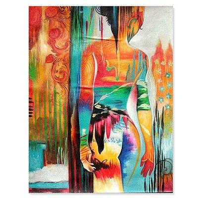 Tela Mulher Nua Colorida 90x70cm