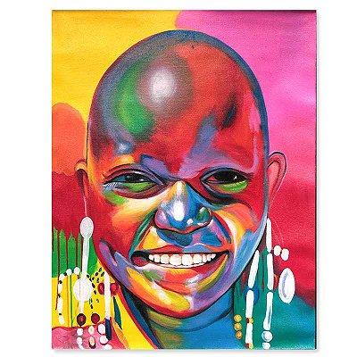 Tela Menino Africano Colorido 90x70cm