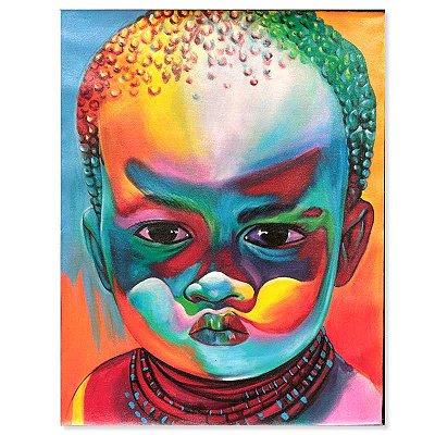 Pintura em Tela Menino Africano 90x70cm
