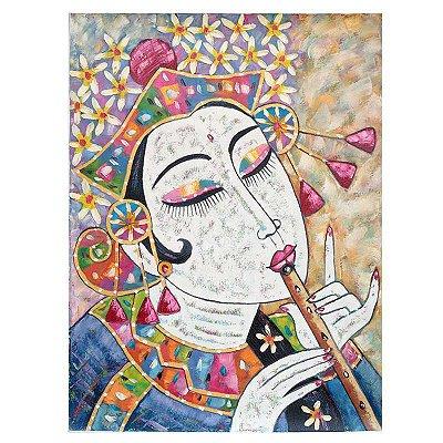 Tela Mulher Tocando Flauta 80x60cm