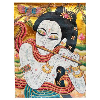 Tela Mulher Nua Tocando Flauta 80x60cm - Bali