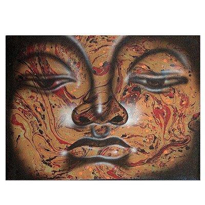 Pintura em Tela Buda Colorido 40x30cm