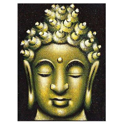 Pintura em Tela Face de Buda Verde 40x30cm
