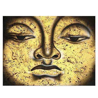 Pintura em Tela Buda Textural Amarelo 40x30cm