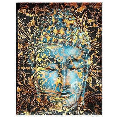 Tela Facial Buda Dourado 40x30cm - Bali