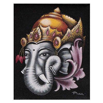 Pintura em Tela Deus Ganesh 25x20cm - Bali