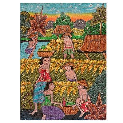 Tela Trabalhadores Balineses 40x30cm