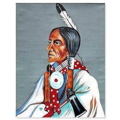 Pintura em Tela Índio Colorido 90x70cm