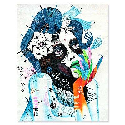 Pintura em Tela Mulher Pensativa 90x70cm