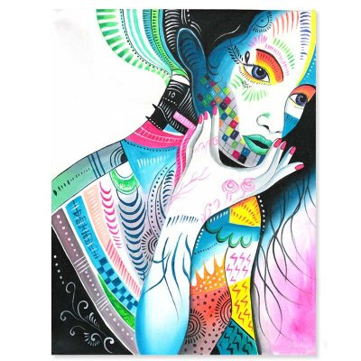 Tela Mulher Balinesa Colorida 90x70cm