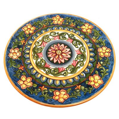 Prato Colorido de Porcelana Floral - 30cm