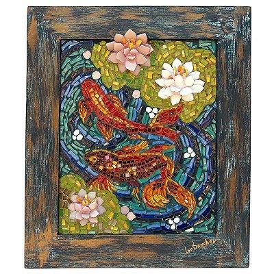 Quadro Carpa Colorido em Mosaico 45cm