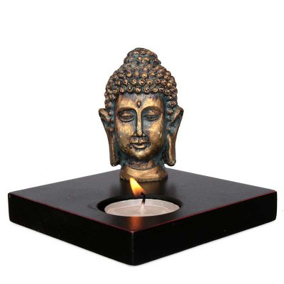 Porta-vela MDF Cabeça de Buda em Resina