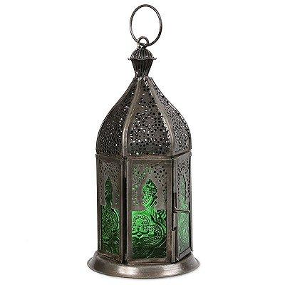 Lanterna de Zinco com Vidro Verde 16cm - Índia