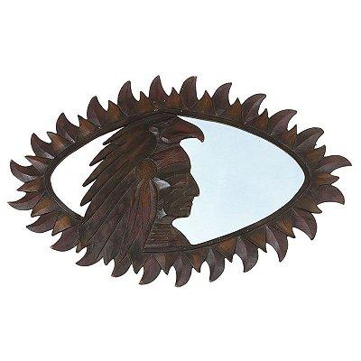 Moldura Escura Índio Xamã c/ Espelho 70cm