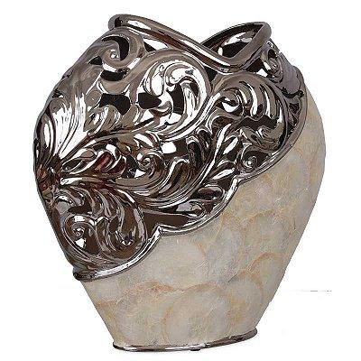 Vaso Decorativo Cerâmica e Madrepérola - Filipinas