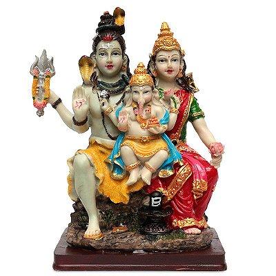 Estátua Família Hindu (Shiva, Ganesh e Parvati)