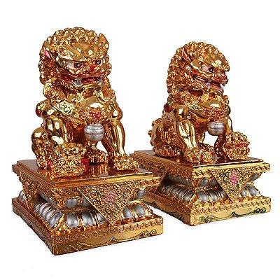 Par de Leões Guardião em Resina - Dourado
