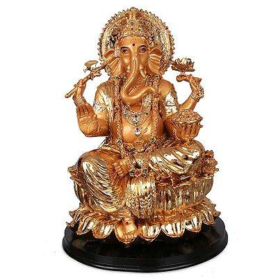 Estátua Dourada Deus Ganesha | 33cm