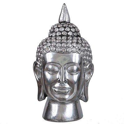 Cabeça de Buda Tailandês em Metal Prata