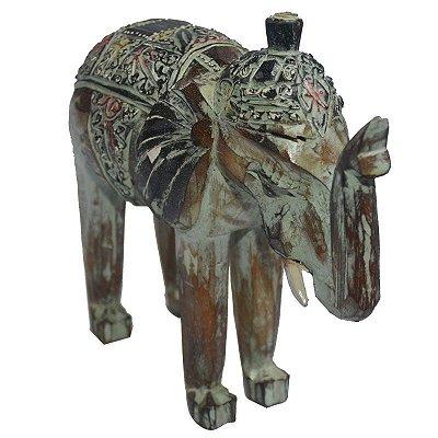 Escultura Elefante em Madeira 30cm - Bali