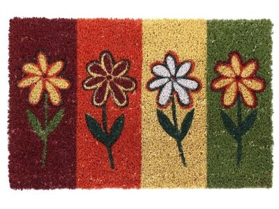 Capacho Flores Coloridas - Artesanato Fibra Natural 40x60cm